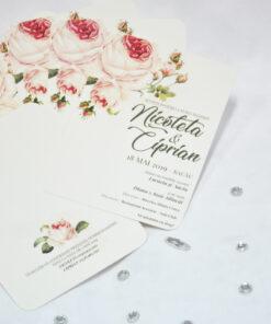 Invitatie de Nunta Trandafiri roz